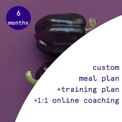 6 months - custom nutrition plans + training programs + 1:1 online coaching  $1520.00USD