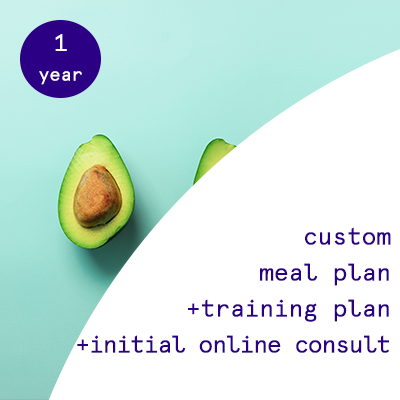 1 year - custom nutrition plans + training programs.  $1595.00USD