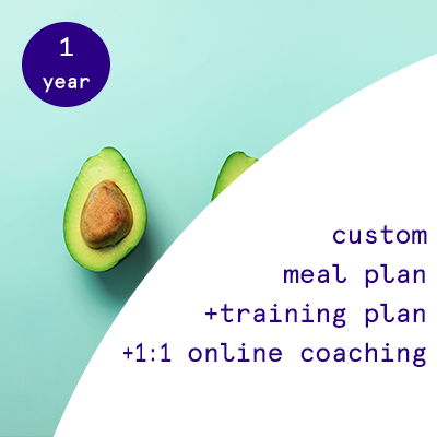 1 year - custom nutrition plans + training programs + 1:1 online coaching  $2735.00USD
