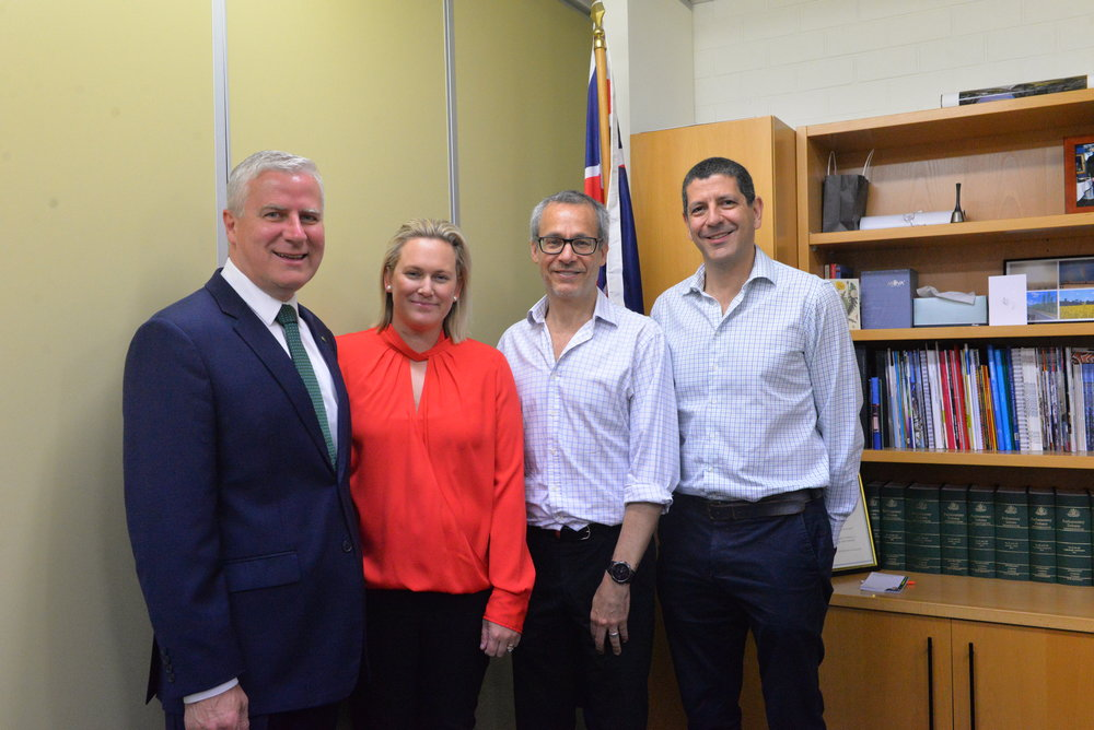 Deputy Prime Minister and National Leader, Member for Riverina Michael McCormack, Bridge Hub Community MAnager Dianna Somerville, Bridge Hub Co-CEO Grant Fuzi and Bridge Hub Co-CEO Craig Shapiro.