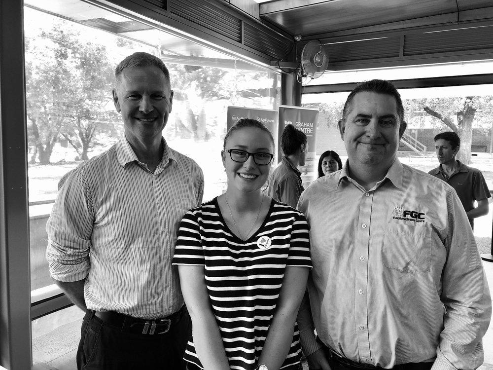 John Harvey, Managing Director Agrifutures Australia, Indiana Rhind, Horizon Scholar and Professor Chris Blanchard, Director Functional Grain Centre. whilst in Wagga Wagga at Charles Sturt University.