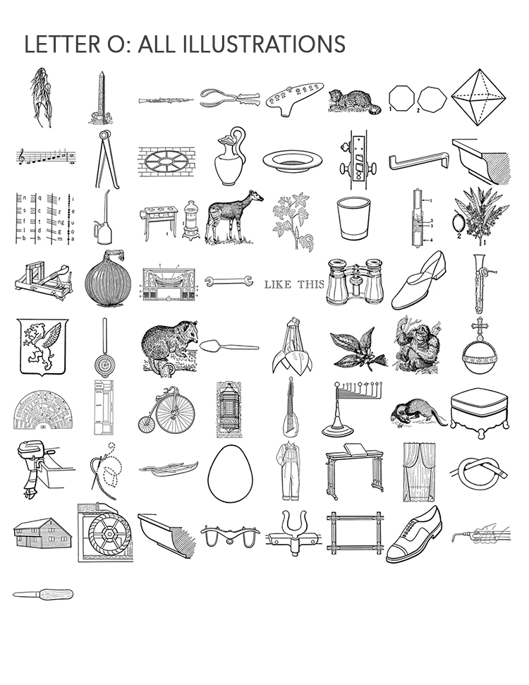 Letter O, all 65 illustrations
