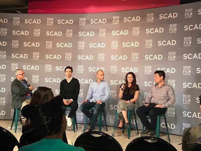 From left to right: Chris Auer (Moderator & SCAD Professor), Robert Corbin (Village Roadshow), Evan Littman (Steel Company), Giulia Prenna (Mind the Gap Productions), James Walker (Lightning Entertainment)