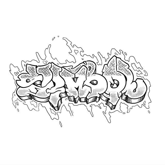 Inktober 2: Symbol  #graffiti#inktober#art#typography#halftone#hiphop#paint#blackandwhite