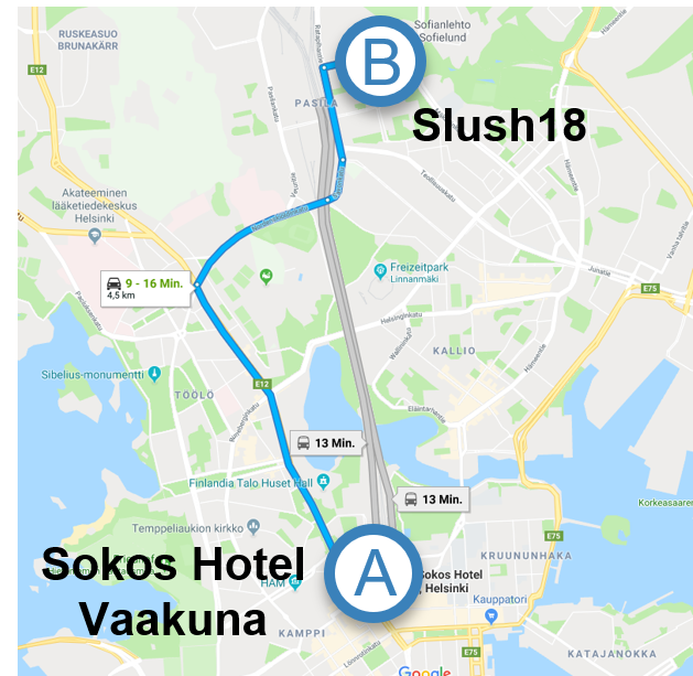 Original Sokos Hotel Vaakuna - Address: Asema-aukio 2, 00100 Helsinki, FinnlandTel. number: +358 20 1234 610From Hotel to Slush ca. 5 km | 20 min. driveFrom Hotel to City Centreca. 200 m | 5 min. to walkFrom Airport to Hotelca. 14km | 30 min. driveIf you made a hotel reservation with us: we prepaid your hotel room for your convenience. Rooms are booked under your name. You don't have to pay with credit card on-site but get invoiced by us. Group name: dreaminc entertainment GmbH
