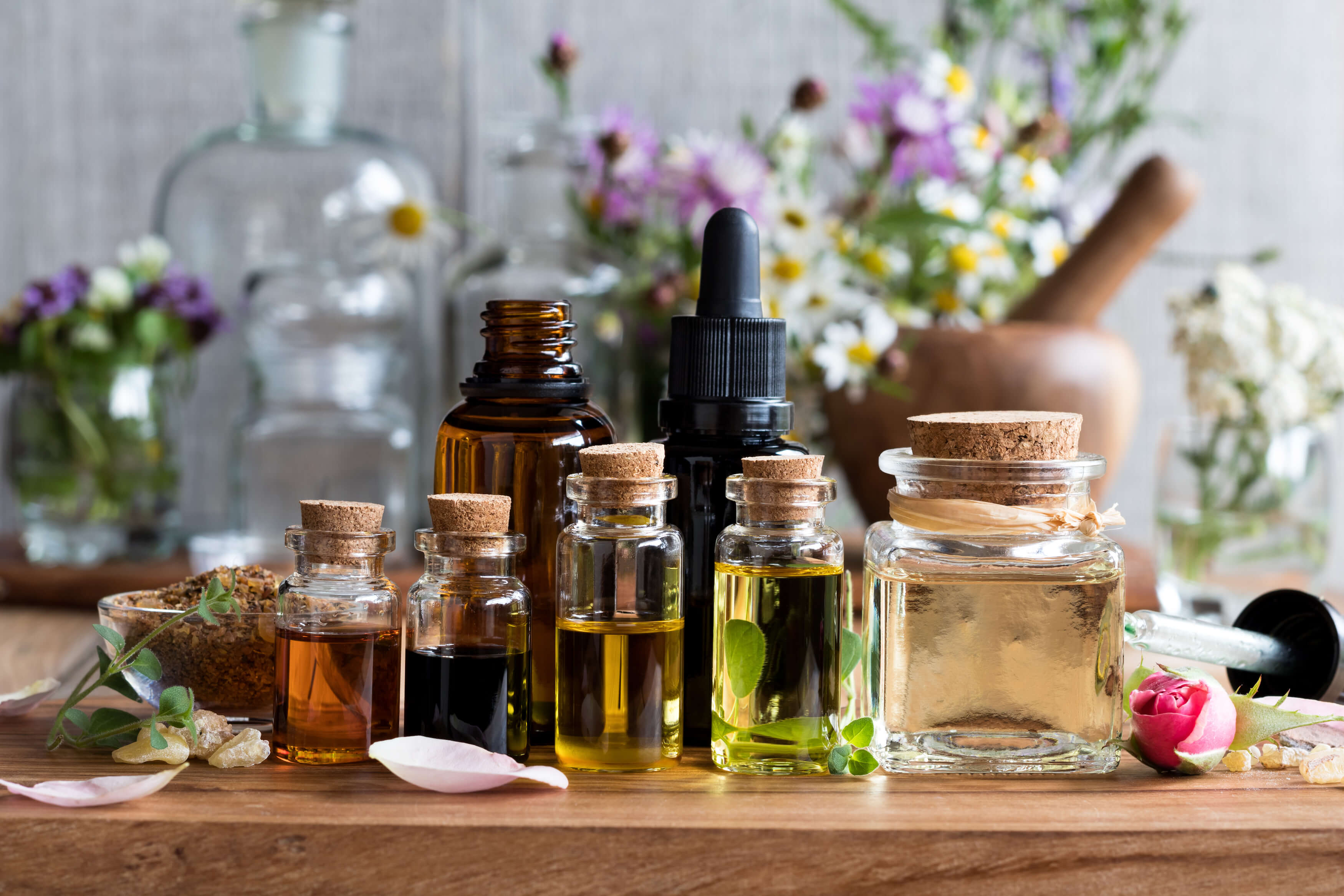 Essential Oils - Essential oils are a powerful and versatile part of a natural medicine cabinet, as they contain potent medicinal and cosmetic properties. They work to support the body's own healing system.Essential oils have a very small molecular size, which means that their healing properties are easily absorbed by the skin. Each oil has unique properties supporting a well balanced body.