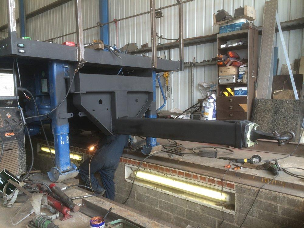 Drawbar Conversion - A three axle semi trailer that has been cut down into a drawbar.