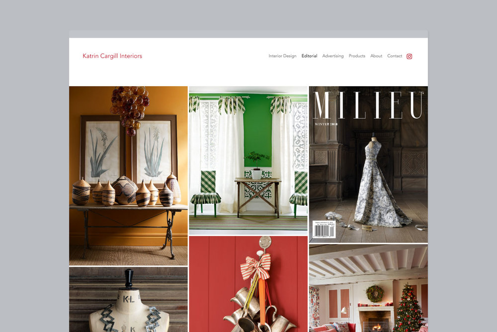 Modern bespoke web design for Katrin Cargill Interiors