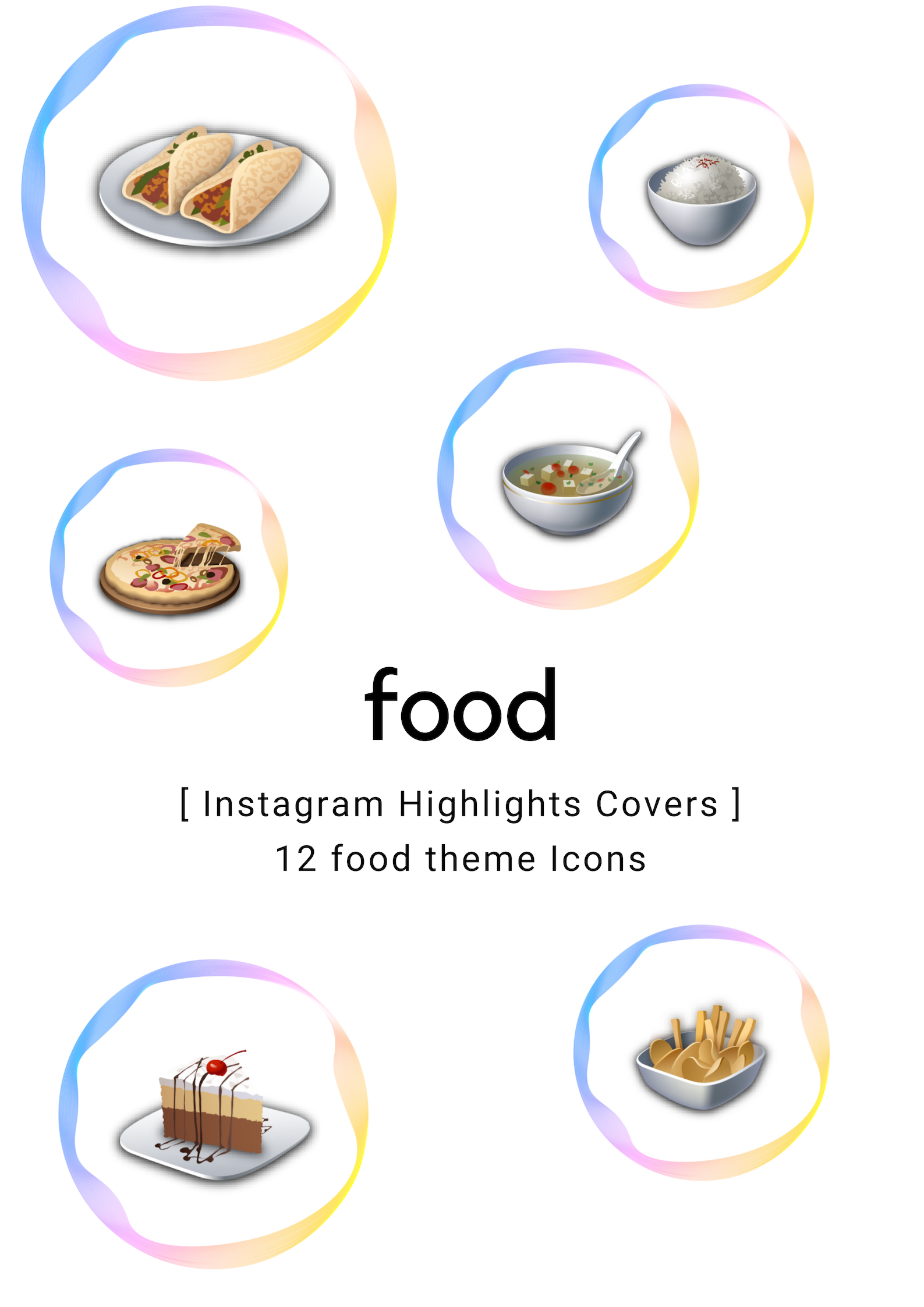 Food Theme Insta Stories Highlights 12 Covers Bundle Caterina Ciacatani