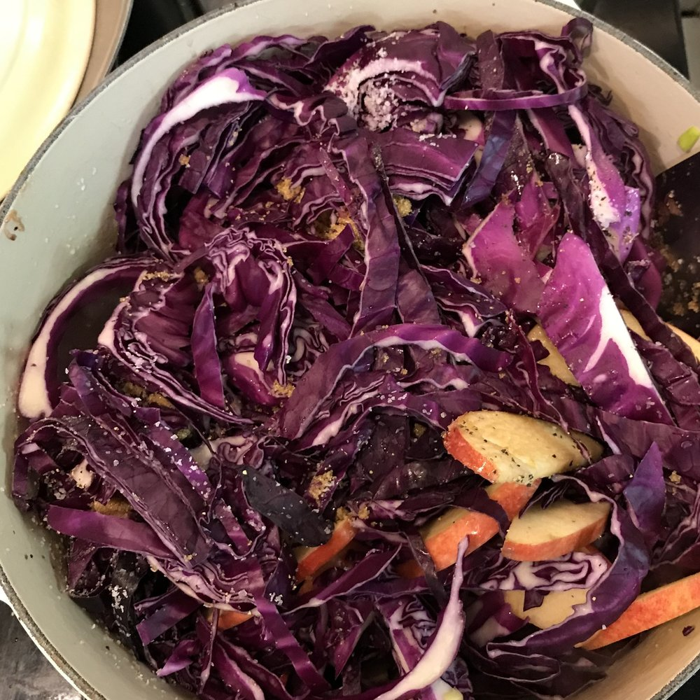 Braised Red Cabbage with Pancetta . Make It Ahead . Week 1