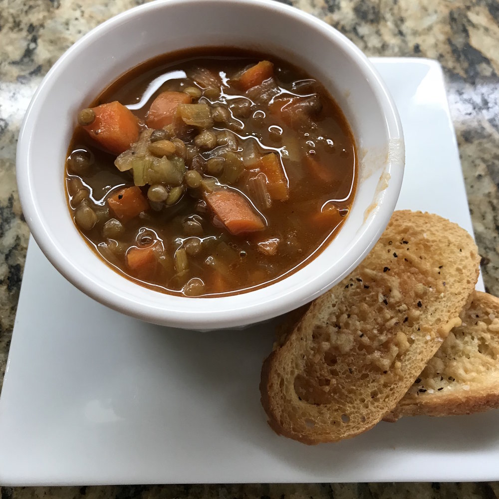 Lentil Vegetable Soup and Parm Croutons . Barefoot Contessa Cookbook . Week 2