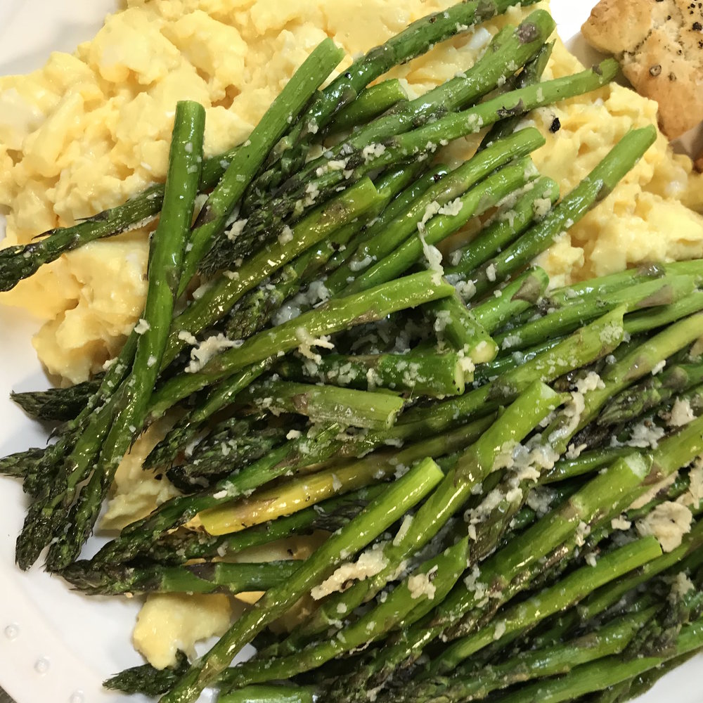 Roasted Asparagus with Scrambled Eggs . Barefoot Contessa Parties! . Week 3