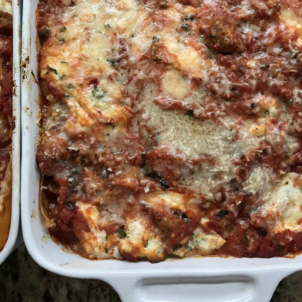 Lasagna with Turkey Sausage . Family Style . Week 3