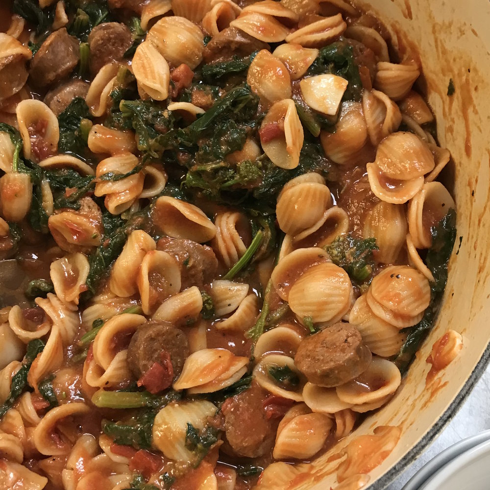 Orecchiette with Broccoli Rabe & Sausage . Barefoot Contessa Foolproof . Week 3