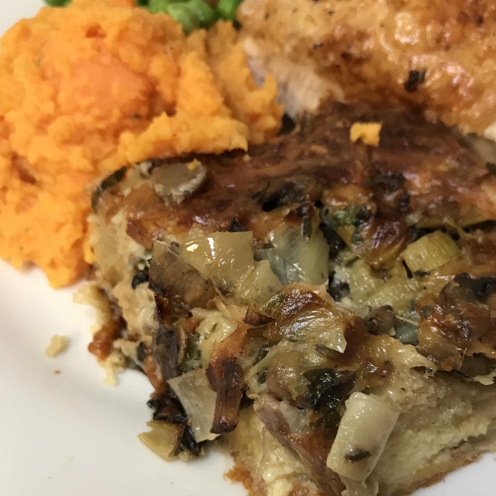 Mushroom & Leek Bread Pudding . Sweet Potato Puree . Barefoot Contessa Foolproof . Week 4