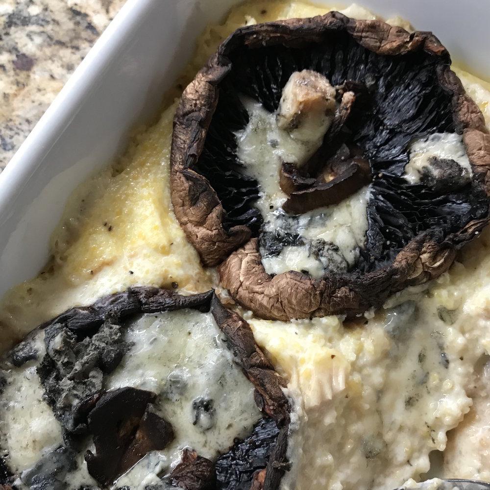 Baked Polenta with Mushrooms & Blue Cheese . Make It Ahead . Week 4