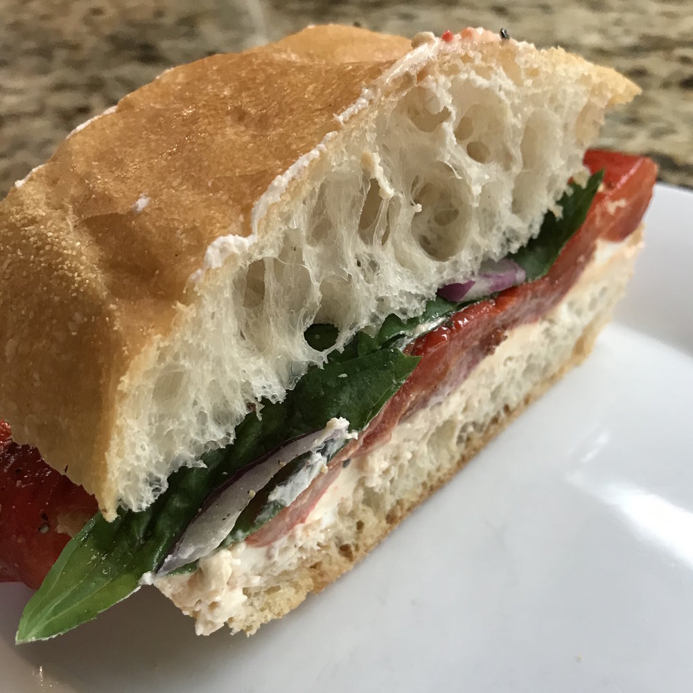 Roasted Pepper & Goat Cheese Sandwiches . At Home . Week 10