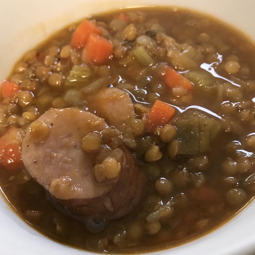 Lentil Sausage Soup . Barefoot in Paris . Week 11