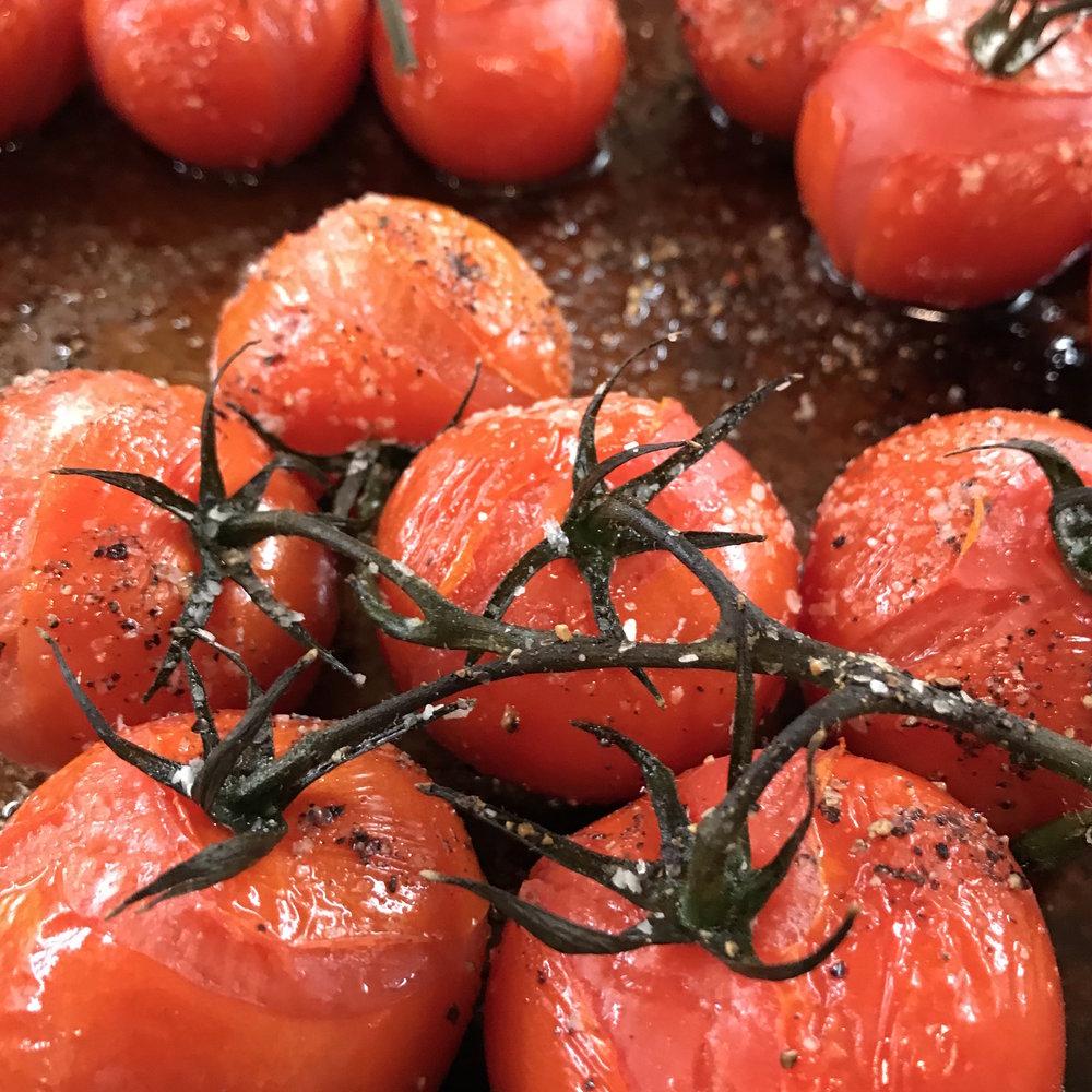 Roasted Vine Tomatoes . Cooking for Jeffrey . Week 13
