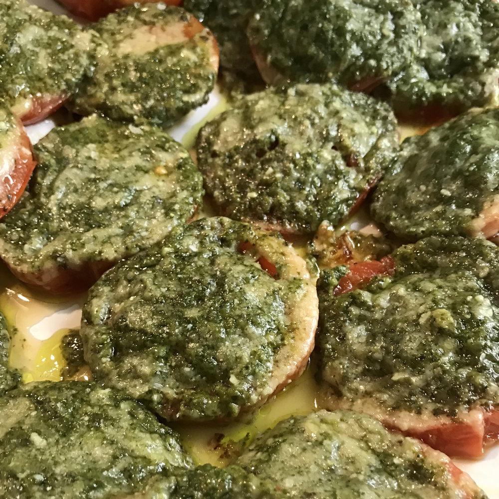 Tomatoes Roasted with Pesto . How Easy Is That? . Week 15
