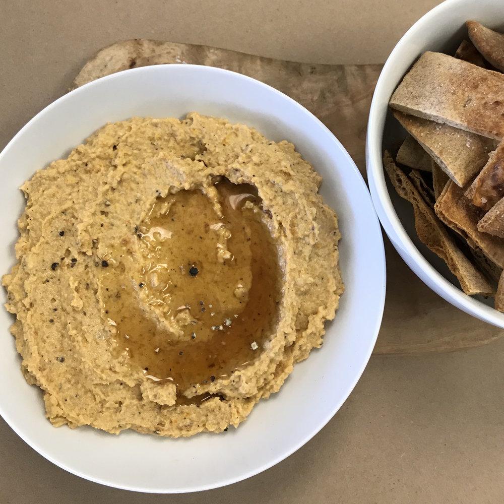 Butternut Squash Hummus . Cooking for Jeffrey . Week 17