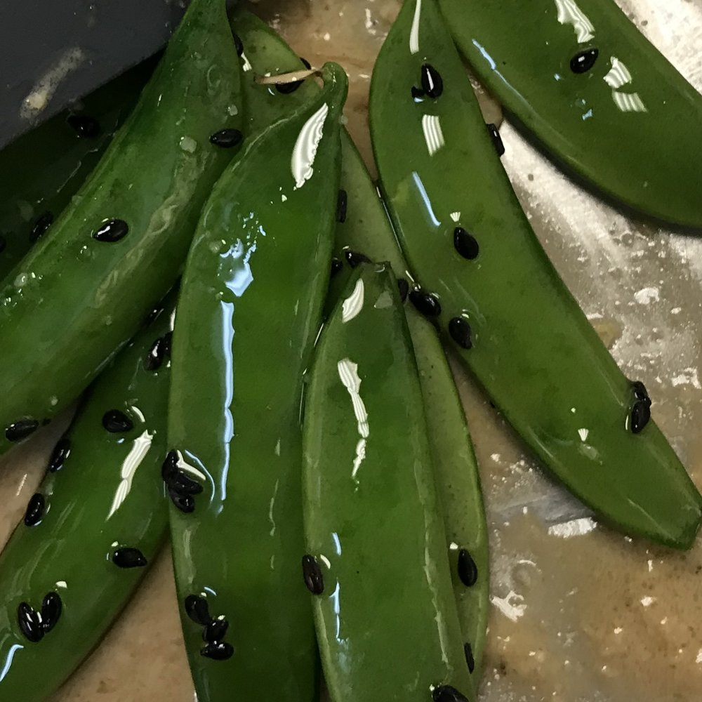 Sugar Snap Peas with Sesame . Barefoot Contessa Cookbook . Week 26