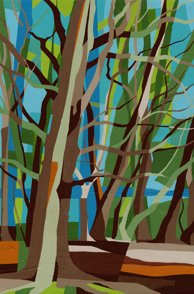 Beeches on Coombe Hill  In celebration of Buckinghamshire's woodlands! Original acrylic and mixed media painting on canvas Canvas size: 76cm high x 51cm wide Also available as signed, limited edition, giclee prints, full size or reduced size Mounted, reduced size print: 60cm high x 44cm wide