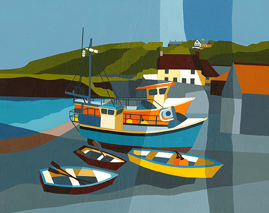 Cadgwith boats, Cornwall  A mix of fishing boats and rowing boats at Cadgwith.  Original acrylic and mixed media painting Framed size: 43cm high x 53cm wide  Original sold but available as signed, limited edition, giclee print Mounted, near full size print: 47cm high x 55cm wide
