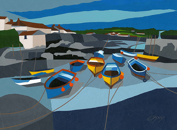Coverack Harbour, Cornwall  These boats added colour to a Cornish harbour.  Original acrylic, ink and mixed media painting Framed size: 43cm high x 53cm wide  Original sold but available as signed, limited edition, giclee print Mounted, near full size print: 47cm high x 55cm wide