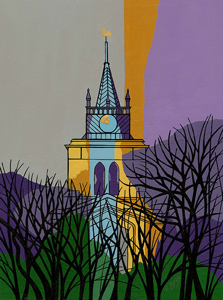 St Mary's, Aylesbury  Tower with pretty spire, on this landmark thirteenth century church, at the heart of old Aylesbury.  Original acrylic, ink and mixed media painting Framed size: 58cm high x 48cm wide  Also available as signed, limited edition, giclee print Mounted, near full size print: 57.5cm high x 45cm wide