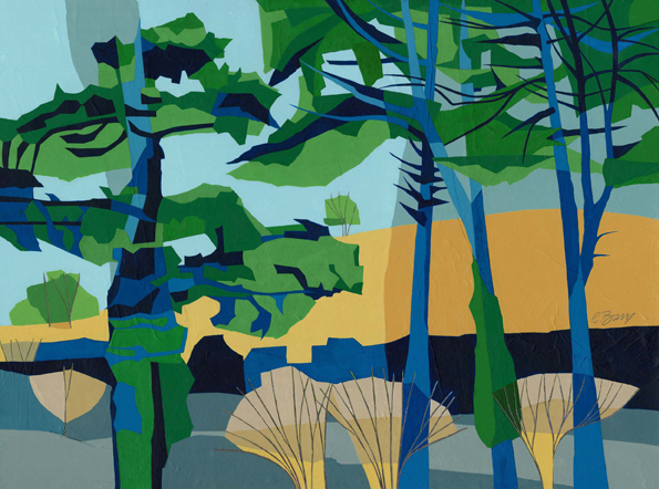 Trees beneath Ivinghoe Beacon  I've always loved the row of characterful Scots pines at the base of Ivinghoe Beacon, along the B489.  Original acrylic and mixed media painting on canvas Canvas size: 45.5cm high x 61cm wide  Also available as signed, limited edition, giclee print, full size or reduced size Mounted, reduced size print: 47.5cm high x 55cm wide