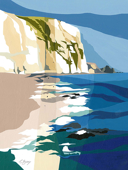 Swyre Head, Dorset  Dramatic chalk cliff on the Purbeck Coast, with great slabs of chalk along the beach too.  Original acrylic and mixed media painting Framed size: 53cm high x 43cm wide  Original sold but available as signed, limited edition, giclee print Mounted, near full size print: 57.5cm high x 45.5cm wide