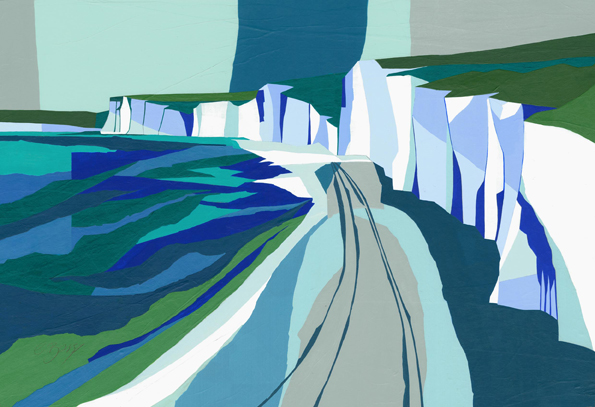 Seven Sisters from Birling Gap  Original acrylic and mixed media painting Framed size: 53cm high x 73cm wide  Original sold but available as signed, limited edition, giclee print, full size or reduced size Mounted, reduced size print: 47.5cm high x 58.5cm wide