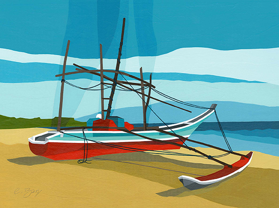 Catamaran, Sri Lanka  Intriguing fishing catamarans on Seenimodera Beach, near Tangalle.  Original acrylic and mixed media painting Framed size: 43cm high x 53cm wide  Also available as signed, limited edition, giclee print