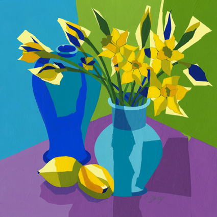 Daffodils  Original acrylic and mixed media painting Framed size: 58cm sq  Original sold but available as signed, limited edition, giclee print Mounted, reduced size print: 48cm high x 46cm wide