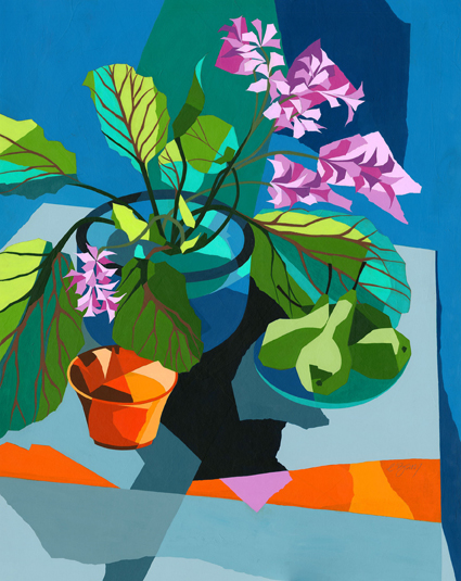 Bergenias  The large evergreen leaves of the bergenia contrast with the plant's delicate pink flowers.  Original acrylic and mixed media painting Framed size: 92cm high x 76.5cm wide  Also available as signed, limited edition, giclee print, full size or reduced size Mounted, reduced size print: 56cm high x 45cm wide