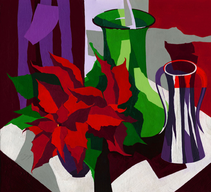 Poinsettia  Original acrylic and mixed media painting Framed size: 810mm wide x 770mm high  Also available as signed, limited edition, giclee print, full size or reduced size Mounted, reduced size print: 48cm high x 49cm wide