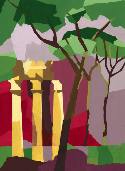 In Rome  At The Forum in Rome.  Original acrylic and mixed media painting Framed size: 52.5cm high x 42.5cm wide  Original sold but available as signed, limited edition, giclee print Mounted, full size print: 57cm high x 44cm wide