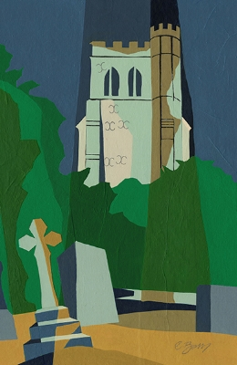 Edlesborough church tower  As seen from the graveyard below the church.  Original acrylic and mixed media painting Framed size: 43cm high x 33cm wide  Original sold but available as signed, limited edition, giclee print Mounted full size print: 49cm high x 36cm wide