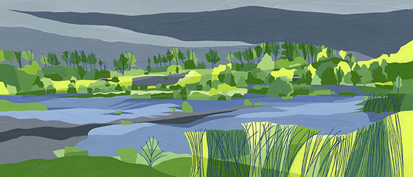 Water's edge, College Lake  College Lake is a nature reserve in a former chalk quarry and includes wetland, marshland and chalk grassland.  College Lake Original acrylic & mixed media painting Framed size: 46.5cm high x 82.5cm wide  Original sold but available as signed, limited edition, giclee print Mounted, reduced size print: 42.5cm high x 72cm wide