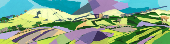 Along the Ridgeway  Original acrylic and mixed media painting Framed size: 35cm high x 95cm wide  Original sold but available as signed, limited edition, giclee print, full size or reduced size Mounted, reduced size print: 34cm high x 72cm wide