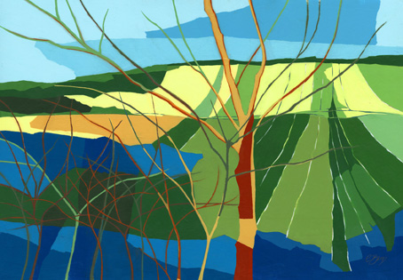 From Sonning Common, near Reading  Original acrylic and mixed media painting Framed size: 52.5cm high x 72.5cm wide  Original sold but available as signed, limited edition, giclee print, full size or reduced size Mounted, reduced size print: 47cm high x 57cm wide