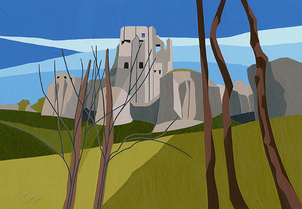 Corfe Castle  The castle dominates not just the village but the surrounding countryside also.  Original acrylic, ink and mixed media painting Framed size: 33cm high x 43cm wide  Original sold but available as signed, limited edition, giclee print Mounted, full size print: 38cm high x 44cm wide
