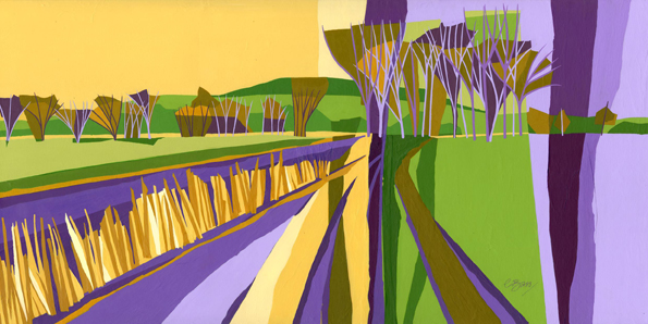 Southend Hill, Cheddington  Original acrylic and mixed media painting on canvas Unframed, canvas size: 50cm high x 100cm wide  Original sold but available as signed, limited edition, giclee print, full size or reduced size Mounted, reduced size print: 43cm high x 66cm wide