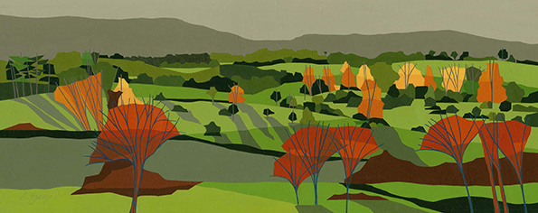 Tring Park  The rolling landscape of Tring Park, a series of little hills and little valleys.  Original acrylic & mixed media painting Framed size: 47cm high x 87cm wide  Also available as signed, limited edition, giclee print Mounted, reduced size print: 72cm wide