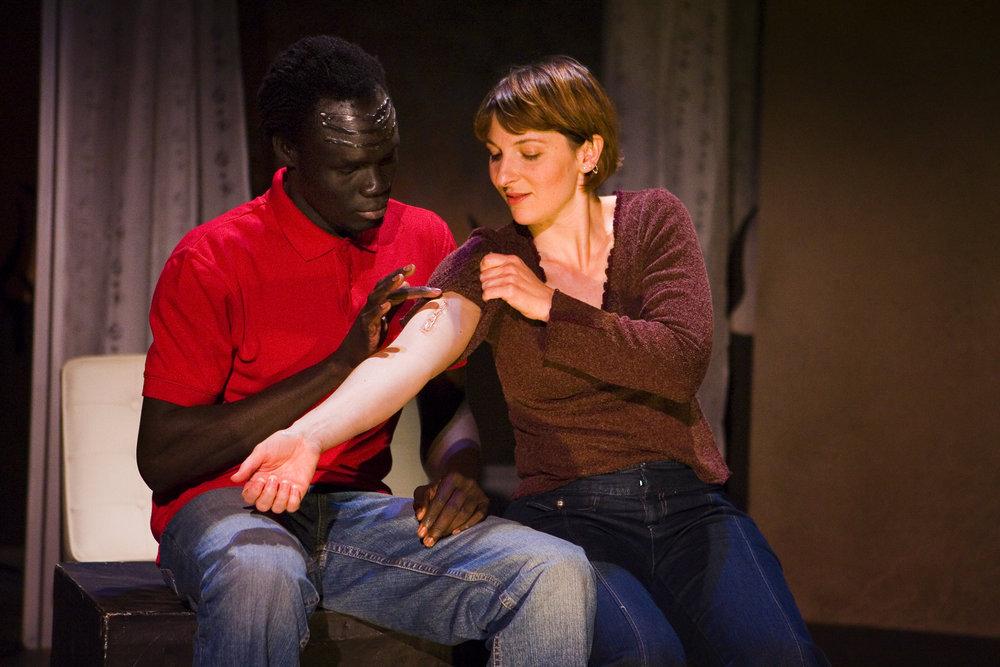 Alephonsion Deng and Erika Beth Phillips at Mo'olelo Performing Arts Company photo by Nick Abadilla