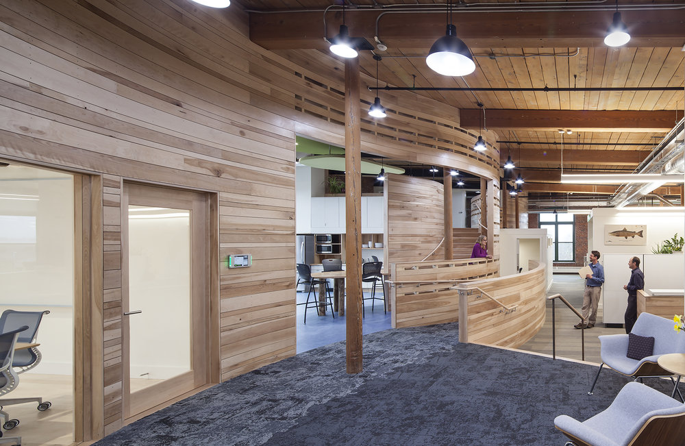 Yellow birch forming the signature curved, flowing entry wall and the beautiful maple used for the floors and trim work in the large conference rooms is sourced from the Conservancy's FSC-certified and sustainably-managed Upper St. John Forest. Photo: Sandy Agrafiotis