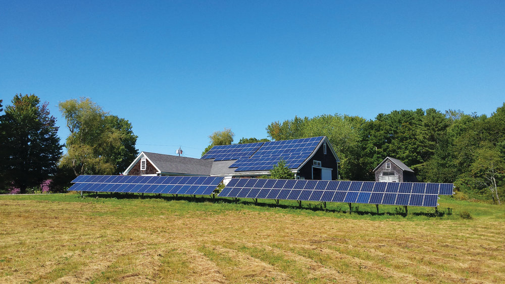The 46 kilowatt solar array owned by the Edgecomb Community Solar Farm Association. Its nine members own a percentage of the energy generated by the solar farm and can apply the energy to their home electricity needs. Photo courtesy of ReVision Energy