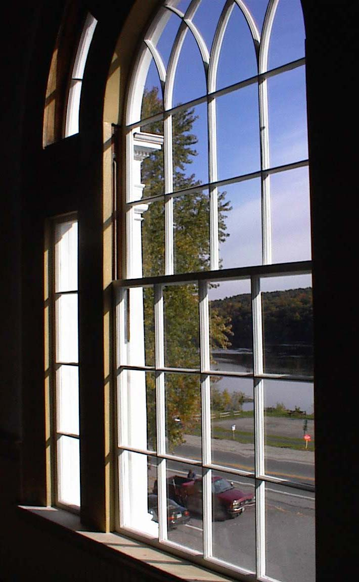 Original architectural detail was maintained in this restored window in Hallowell's City Hall. Photo: N. Barba