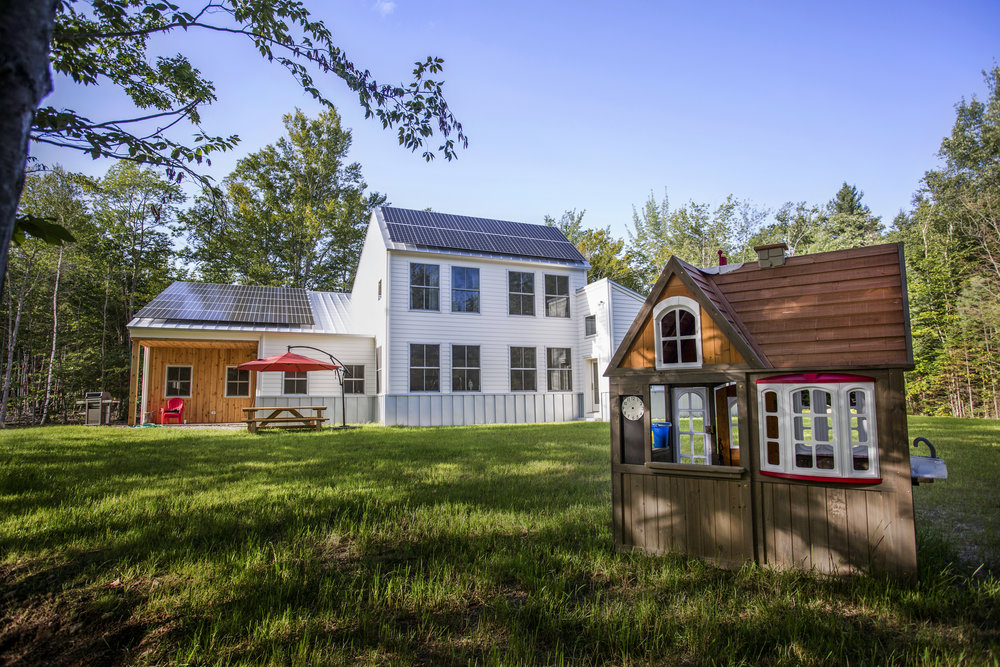 Houses at Baird Landing are all-electric with heat provided by heat pumps and solar electricity installed by ReVision Energy. The first two homes in the development were sold to families with young children. Photo: Tim Greenway